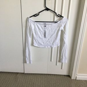 NWT Off the shoulder ribbed long sleeve top